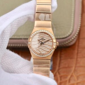 Omega Constellation Ladies 27mm TW Factory 18K Rose Gold Textured Diamond Dial